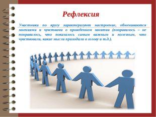 Рефлексия Участники по кругу характеризуют настроение, обмениваются мнениями
