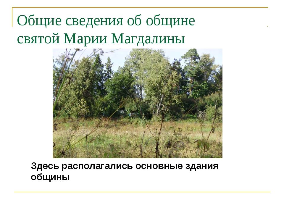 Общие сведения об общине святой Марии Магдалины Здесь располагались основные...