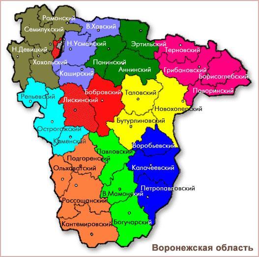 Карта Воронежской области по районам Виртуальный туризм