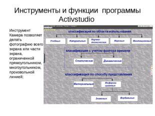 Инструменты и функции программы Activstudio Инструмент Камера позволяет делат