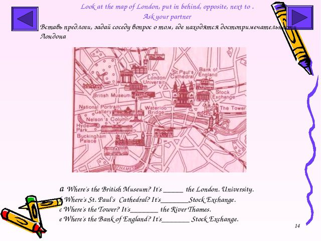 * Look at the map of London, put in behind, opposite, next to . Ask your part...