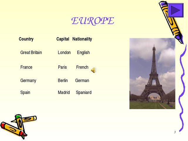 * EUROPE  Great Britain London English  Country Capital Nationality Germa...