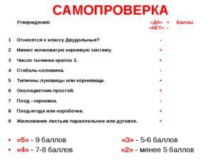 САМОПРОВЕРКА «5» - 9 баллов «3» - 5-6 баллов «4» - 7-8 баллов «2» - мене
