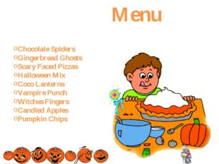 Menu Chocolate Spiders Gingerbread Ghosts Scary Faced Pizzas Halloween Mix C