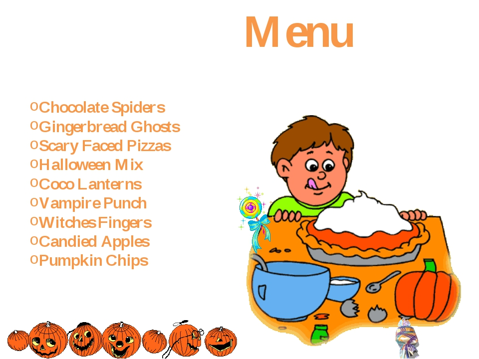 Menu Chocolate Spiders Gingerbread Ghosts Scary Faced Pizzas Halloween Mix C...