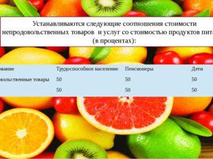 Устанавливаются следующие соотношения стоимости непродовольственных товаров и