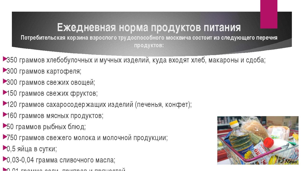Ежедневная норма продуктов питания Потребительская корзина взрослого трудоспо...