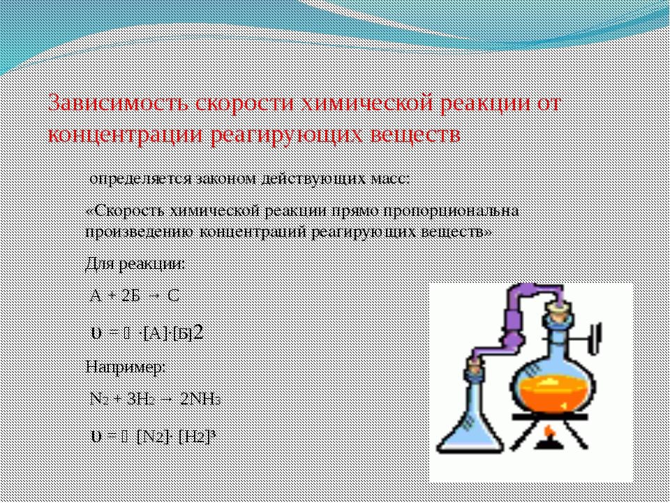 Зависимость скорости химической реакции от концентрации реагирующих веществ о...