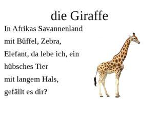 die Giraffe In Afrikas Savannenland mit Büffel, Zebra, Elefant, da lebe ich,