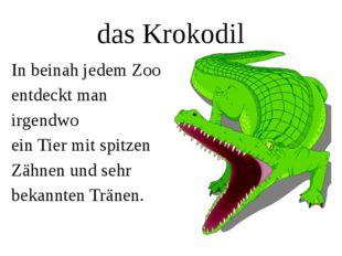 das Krokodil In beinah jedem Zoo entdeckt man irgendwo ein Tier mit spitzen Z