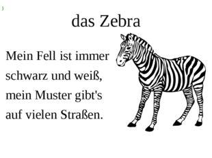 das Zebra Mein Fell ist immer schwarz und weiß, mein Muster gibt's auf vielen