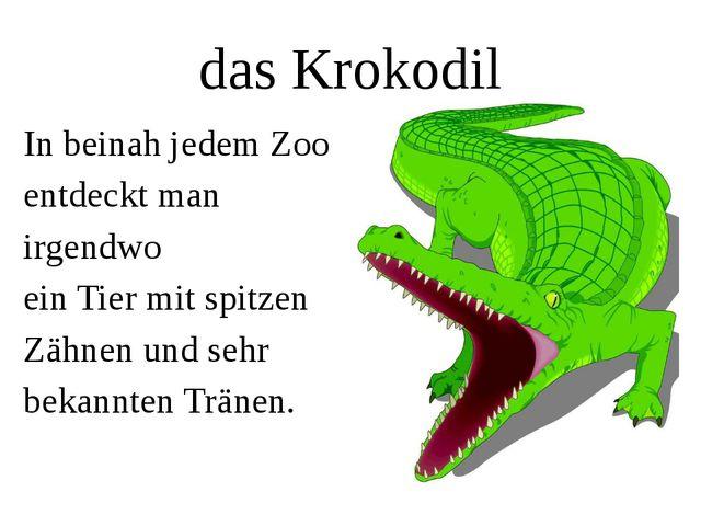 das Krokodil In beinah jedem Zoo entdeckt man irgendwo ein Tier mit spitzen Z...