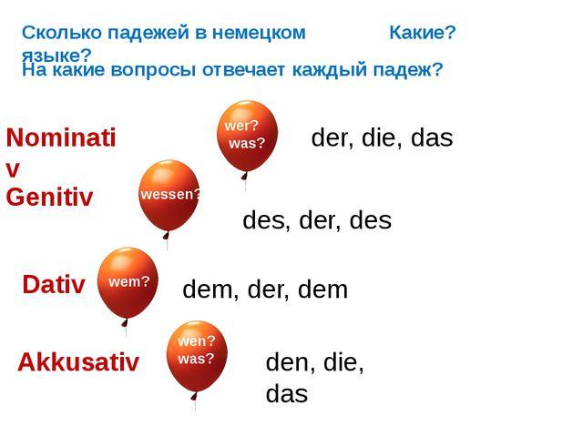 Сколько падежей в немецком языке? Nominativ Genitiv Dativ Akkusativ wen? was?...