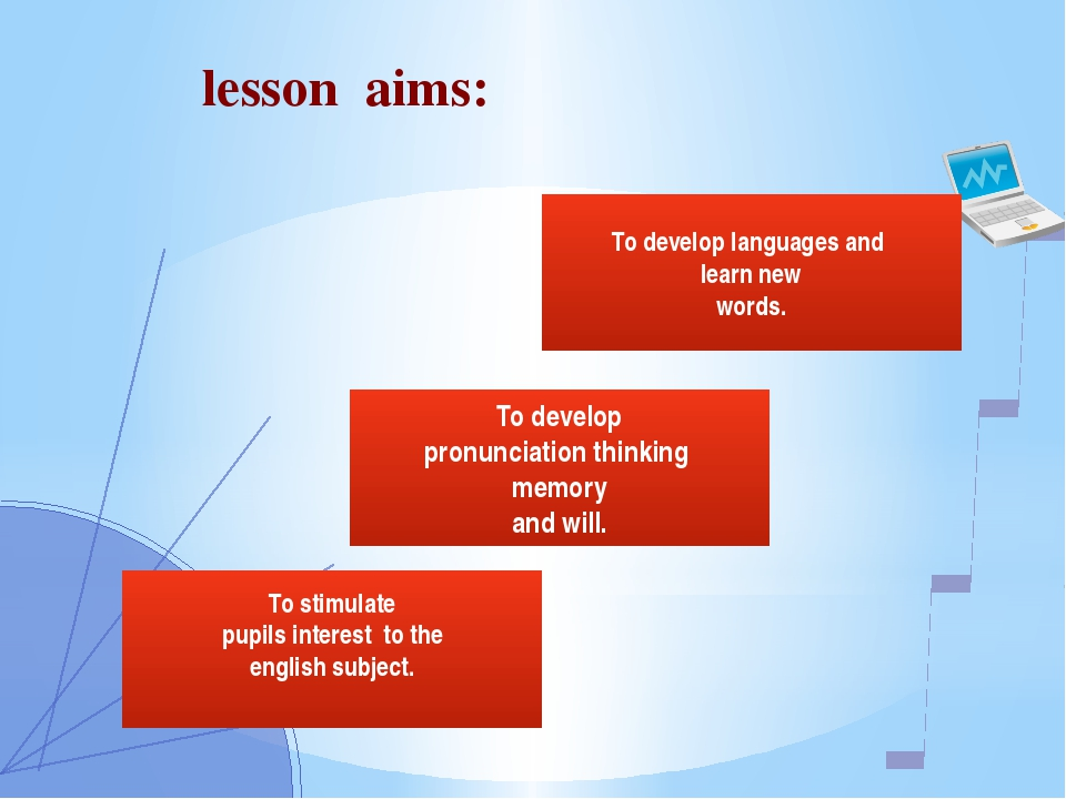 To develop pronunciation thinking memory and will. To stimulate pupils inter...
