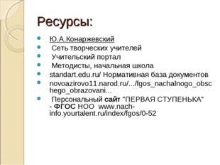 Ресурсы: Ю.А.Конаржевский Сеть творческих учителей Учительский портал Методис