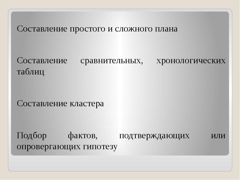 Составление простого и сложного плана Составление сравнительных, хронологиче...
