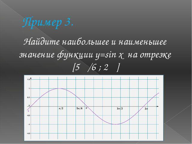 Пример 3. Найдите наибольшее и наименьшее значение функции y=sin x на отрезке...