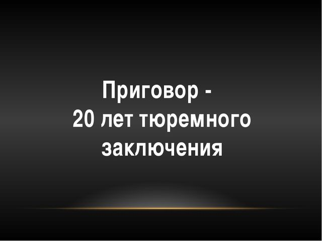 Приговор - 20 лет тюремного заключения