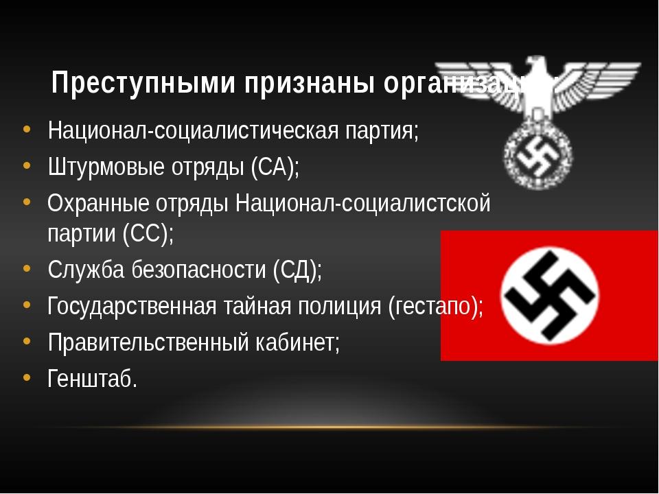 Преступными признаны организации: Национал-социалистическая партия; Штурмовые...