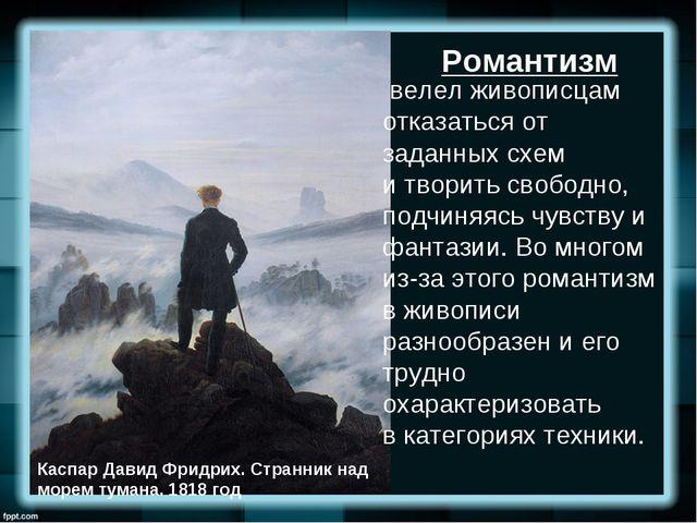 Каспар Давид Фридрих.Странник над морем тумана. 1818 год велел живописцам о...