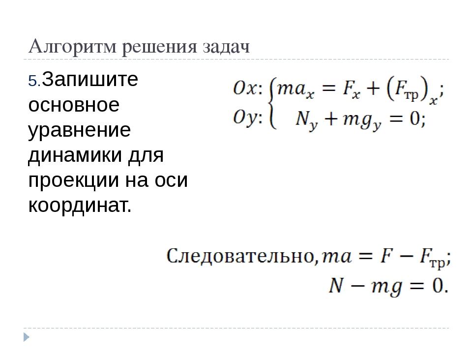 Алгоритм решения задач Запишите основное уравнение динамики для проекции на о...