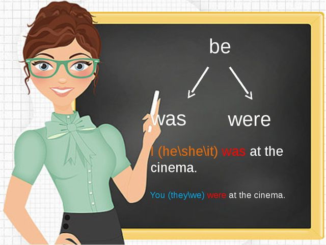 be was were I (he\she\it) was at the cinema. You (they\we) were at the cinema.
