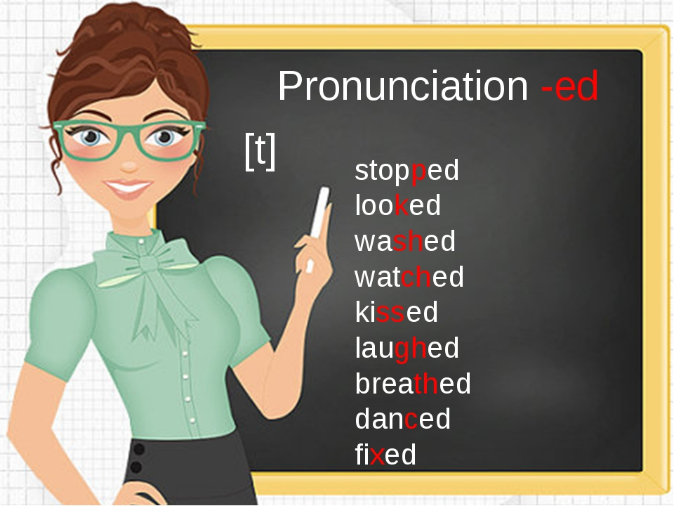 Pronunciation -ed [t] stopped looked washed watched kissed laughed breathed d...