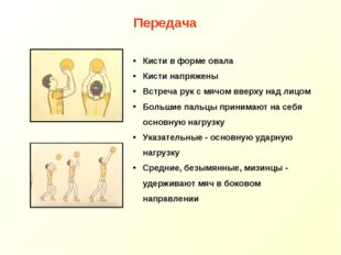 Кисти в форме овала Кисти напряжены Встреча рук с мячом вверху над лицом Боль