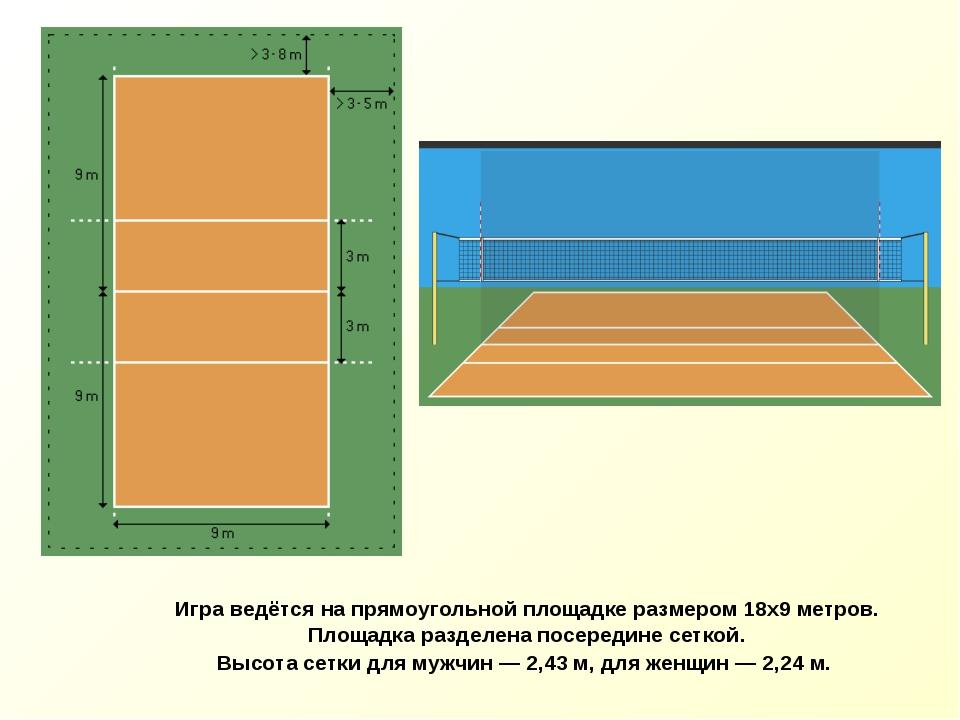 Игра ведётся на прямоугольной площадке размером 18х9 метров. Площадка раздел...