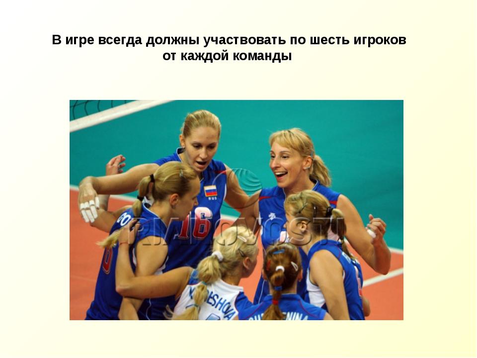 В игре всегда должны участвовать пошесть игроков откаждой команды