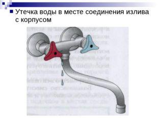 Утечка воды в месте соединения излива с корпусом