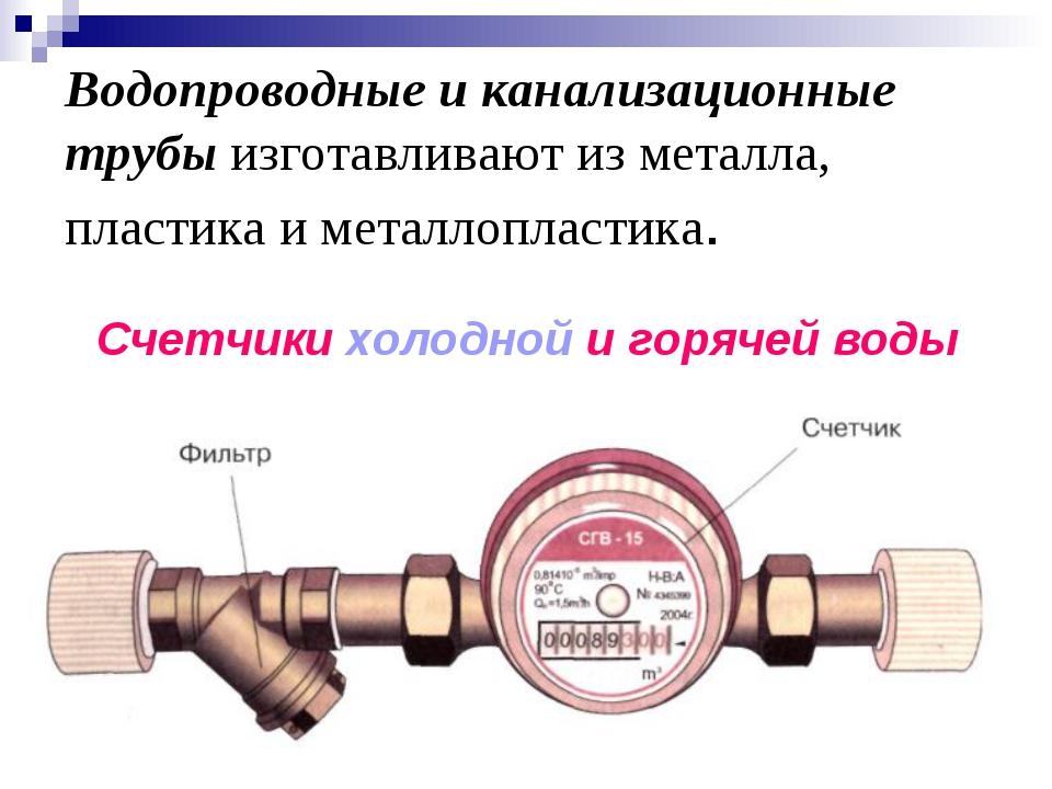 Водопроводные и канализационные трубы изготавливают из металла, пластика и ме...