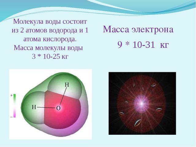 Молекула воды состоит из 2 атомов водорода и 1 атома кислорода. Масса молекул...