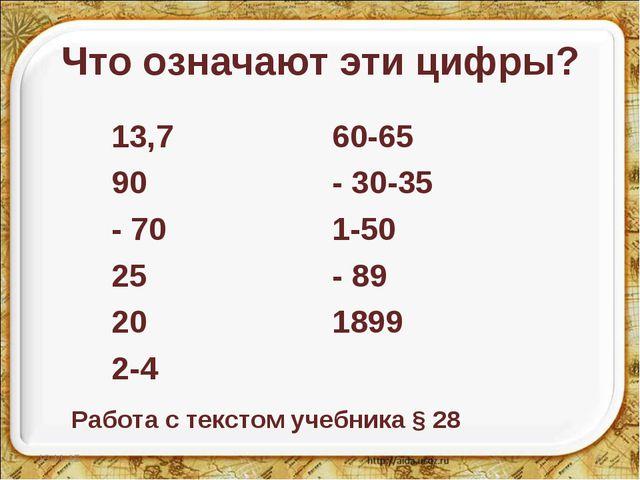 Что означают эти цифры? 13,7 90 - 70 25 20 2-4 60-65 - 30-35 1-50 - 89 1899 *...
