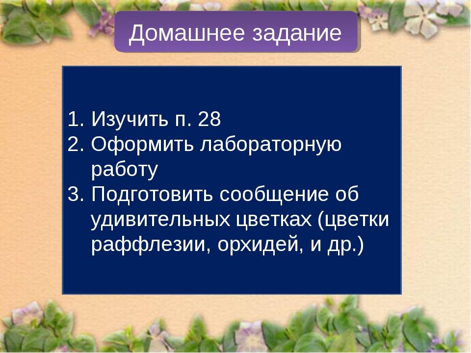 Домашнее задание Изучить п. 28 Оформить лабораторную работу Подготовить сообщ...