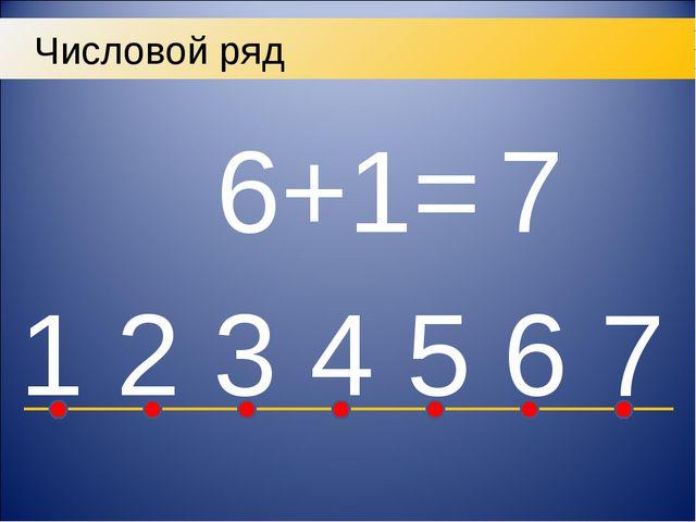 Числовой ряд 6+1= 7 7
