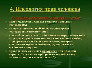 4. Идеология прав человека Основные положения идеологии прав человека: - прав