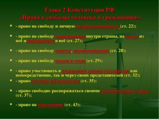 Глава 2 Конституции РФ «Права и свободы человека и гражданина»: - право на с