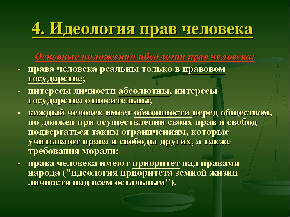4. Идеология прав человека Основные положения идеологии прав человека: - прав...