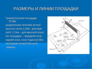 РАЗМЕРЫ И ЛИНИИ ПЛОЩАДКИ Прямоугольная площадка 9*18м разделенная пополам сет