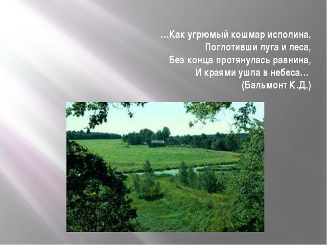 …Как угрюмый кошмар исполина, Поглотивши луга и леса, Без конца протянулась р...
