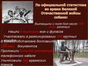 Вытащили с поля боя около 700 тыс. раненых Нашли 4 миллиона мин и фугасов Уча