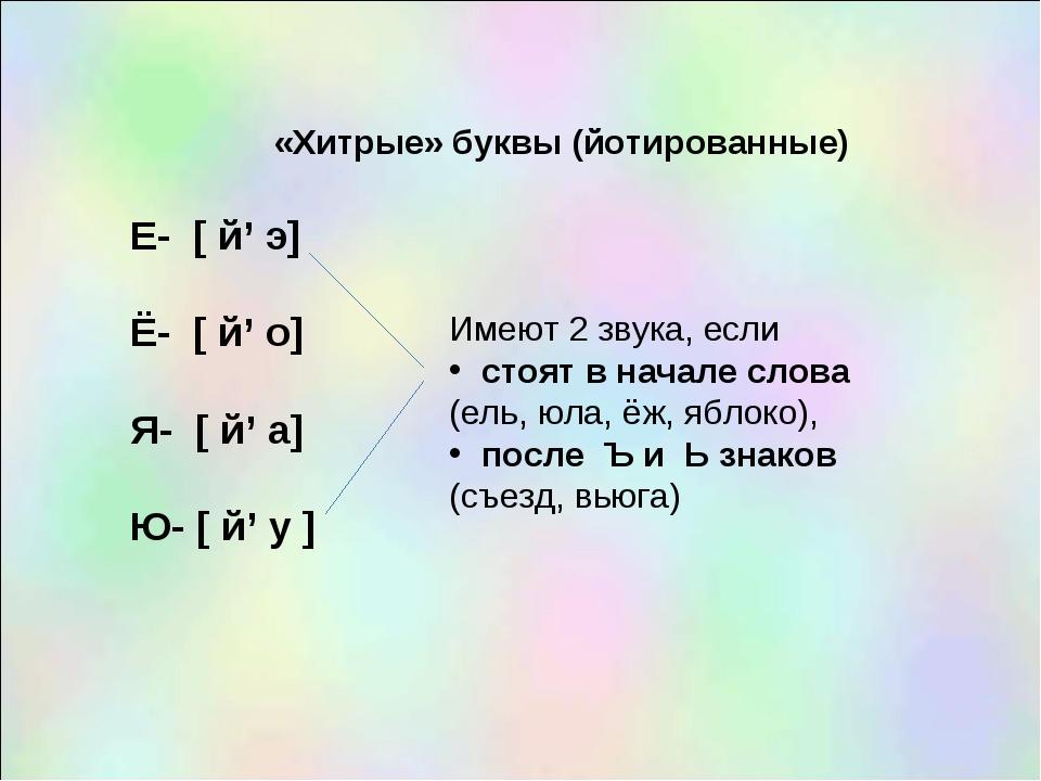 «Хитрые» буквы (йотированные) Е- [ й' э] Ё- [ й' о] Я- [ й' а] Ю- [ й' у ] Им...