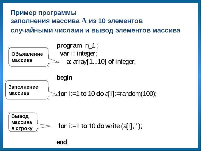 Объявление массива Заполнение массива Вывод массива в строку program n_1 ; v...