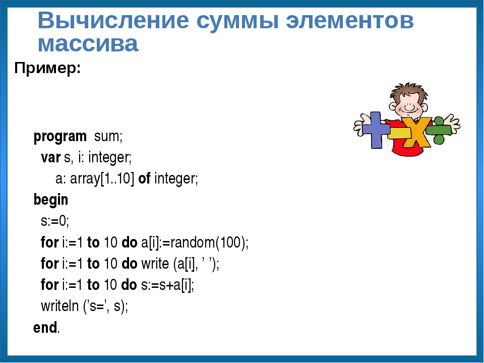 Вычисление суммы элементов массива program sum; var s, i: integer; a: array[...