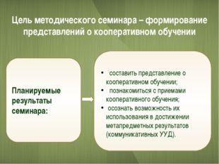 Цель методического семинара – формирование представлений о кооперативном обуч