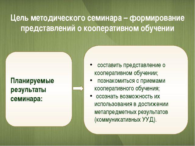 Цель методического семинара – формирование представлений о кооперативном обуч...