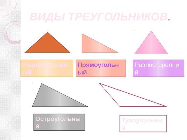 ВИДЫ ТРЕУГОЛЬНИКОВ. Прямоугольный Равнобедренный Равносторонний Остроугольный...