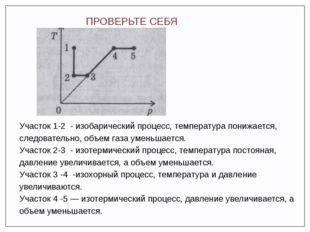 ПРОВЕРЬТЕ СЕБЯ Участок 1-2 - изобарический процесс, температура понижается, с