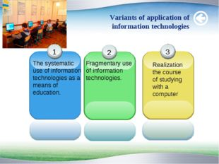 Variants of application of information technologies The systematic use of inf